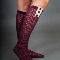 Button and Lace Boot Socks in WINE