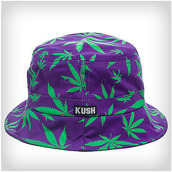 Purple & Green Leaf Bucket Hat - Spencer's