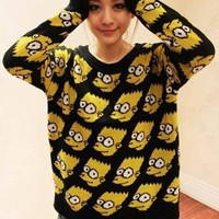 New Cute Ladies Bart Simpson Top Shirt Blouse Sweater Jumper from trendyfashionforyou