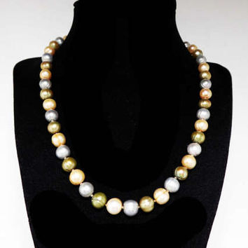 Single Strand Pearl Necklace - Faux Baroque Pearl Colored Beads - Pearlescent green, blue, white Vintage Signed MM 1990s Retro Beaded Style