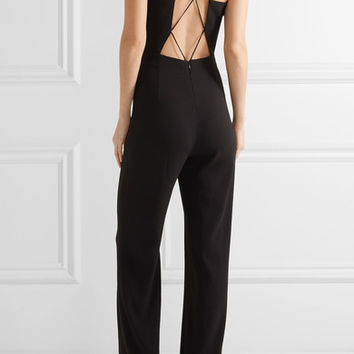 Cushnie et Ochs - Claudia lace-up crinkled stretch-crepe jumpsuit