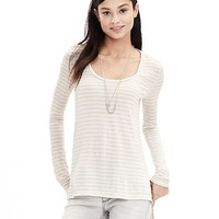Banana Republic Womens Micro Stripe Modal Scoop Neck Tee