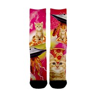 Cats Pizza UFO Socks