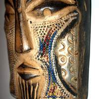 Fantastic Vintage Akan Carved Wall Mask from Ghana Africa