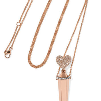 Diane Kordas - Amulette 18-karat rose gold diamond necklace