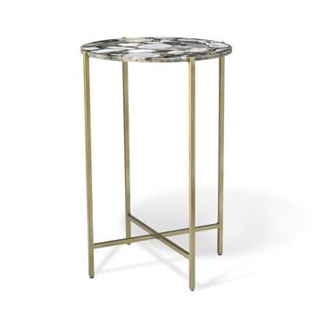 Leonie Round Side Table in Grey