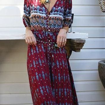 Let's Get Lost Paisley 3/4 Sleeve V Neck Button Casual Maxi Dress - 3 Colors Available
