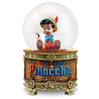 disney store the art of pinocchio and jiminy cricket musical snow globe new with box