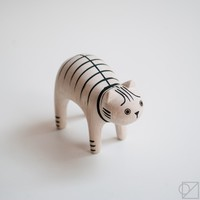 T-lab Handcarved Wooden Tabby Cat