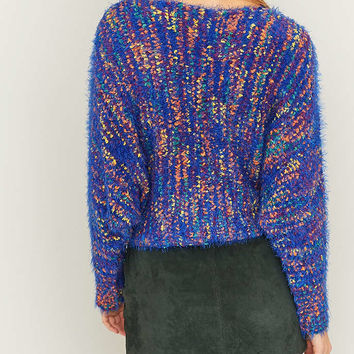 Ecote Multi-Coloured Fluffy Blue Jumper - Urban Outfitters
