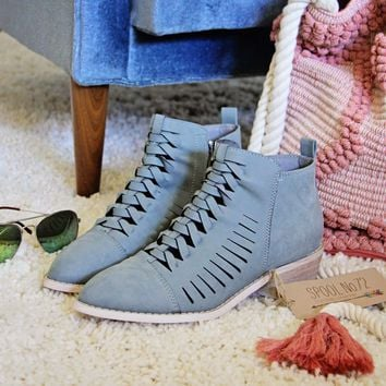 Ostara Woven Booties in Blue