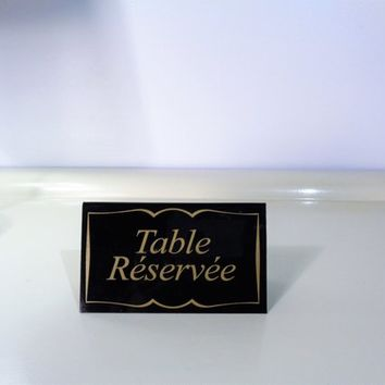 Vintage Restaurant Table Reserved Sign Black and Gold Color Wedding Party Restaurant Table Decor Kitchen Decor Made in France 70s