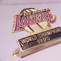 Los Angeles Lakers Lapel Pin World Champion 1990 Basketball Sports Unisex Jewelry Accessories