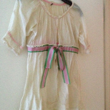 Free People Linen Ribbon Baby Doll Shirt Xs 0/2