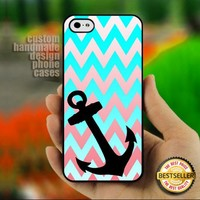 Chevron Blue Anchor Custom - Print on Hard Cover for iPhone 5