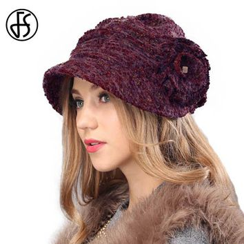 FS Lady Brown Fuchsia Knit Beret Hat Autumn Winter Elegant Wide Brim Wool Warm Cap With Floral Berets Femme