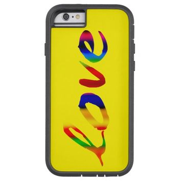 love in bold colors on bright yellow tough xtreme iPhone 6 case