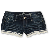 Almost Famous Zoe Lace Hem Denim Shorts at Zumiez : PDP