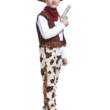 Free shipping!!Halloween carnival party, stage play performance clothing, western heroes little cowboy costumes