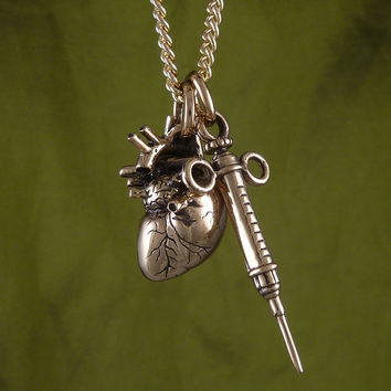 "Anatomical Heart and Syringe Necklace Bronze Heart and Syringe on 24"" Gold Plated Chain"