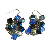 Blue Cluster Dangle Crystal Earrings