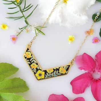Flower necklace, V shape necklace, Chevron Necklace with Flowers