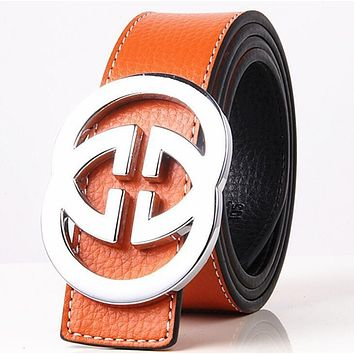 GUCCI 2 G Woman Fashion Smooth Buckle Belt Leather Belt-6