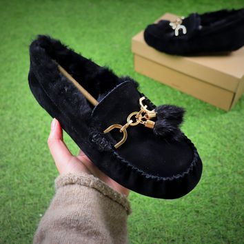 Ozlana Ugg The Fluffy Loafer Black Slippers - Best Online Sale