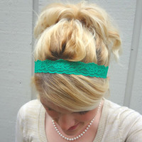 Emerald green thin stretch lace headband - feminine - romantic - classic