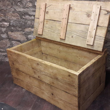 Handmade reclaimed wood blanket box trunk chest rustic