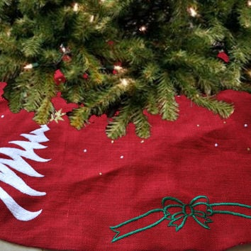 Handcrafted Christmas Tree Skirt Burlap Embroidered Holiday Decoration Red Gold Green White