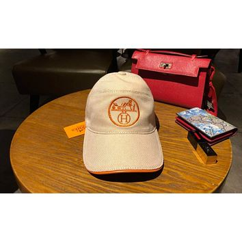 Hermes High Quality Trending Women Men Stylish Embroidery Sports Sun Hat Baseball Cap Hat Khaki I-3A30-LRWJ