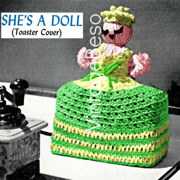 Doll Crochet Pattern • Retro 1960s • Toaster Cover • Vintage fun home decor Kitchy brings happiness into kitchen • Instant Download PDF