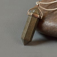 Pyrite Stone Hexagonal Crystal Point Pendant Necklace with Silver Snake Chain