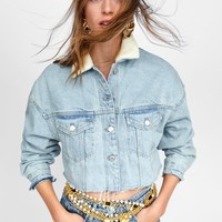 AUTHENTIC CONTRASTING DAMAGED DENIM JACKET DETAILS