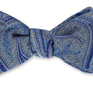 Blue/ Navy Quicksilver Paisley Bow Tie - B4142