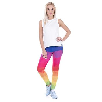 Printed Women Legging Colorful Triangles Rainbow Leggings