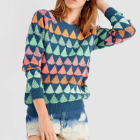 All Out Pattern Sweater in Blue