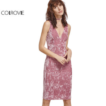 COLROVIE Vintage Velvet Dress Women Pink Sexy Double V Neck Sleeveless Crushed Dress 2017 New Fashion Empire Midi Dress