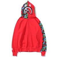 Bape Aape Autumn And Winter New Fashion Shark Camouflage Women Men Hooded Long Sleeve Sweater Coat Red