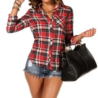 Button Front Plaid