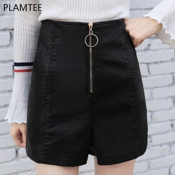 PLAMTEE Women Fake PU Leather Shorts Female Short Pants With High Waist Zipper Down Casual Brief Short Pants Feminino Shorts