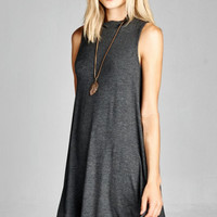 Sleeveless Mock Neck Tunic Dress - Charcoal