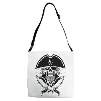 skull with beard Adjustable Strap Totes