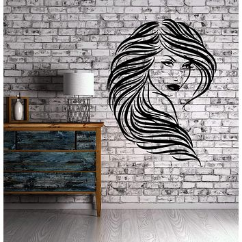 Wall Decor Vinyl Decal Beautiful Girl Wavy Hair Salon Art Sticker Unique Gift (m097)