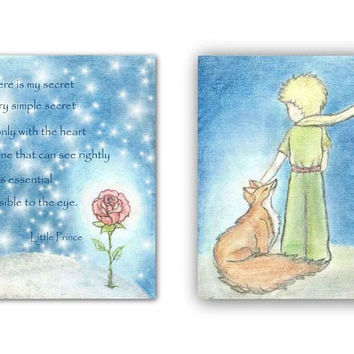 Little Prince, Fox, rose, nursery wall art, nursery prints, kids room decor, le petit prince, boys room decor, nursery quotes, art for boys
