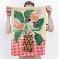 Bushdance Australia Flora Inspired Cotton Linen Tea Towel - for use in the kitchen or hang as an art piece!