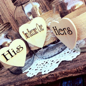 Two Become One Sand Unity Jar Set Rustic Wedding Unity Ceremony Mason Jars Engraved Heart Unity Sand Jar Mason Jar Wedding Unity Sand Jar