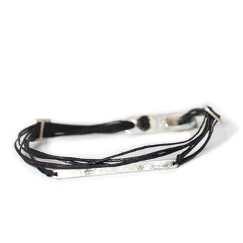 D'or 925 Sterling Silver Bar & Buckle Long Clasp 8'' Black Wax Nylon Cord Bracelet