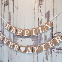 Happily Ever After Wedding banner, rustic wedding, wedding sign, wedding banners,bridal shower,reception,decoration,engagement,photo prop